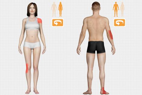 Fysiotherapie check (pijnlocatie)